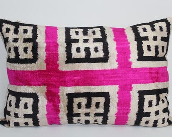 Pink Ikat Velvet Pillow -  16'' x 23.5''  Pink Pillow Accent Sofa Pillows Ikat Lumbar Pillow Cover Velvet Pillow Cover Pink Couch Pillow