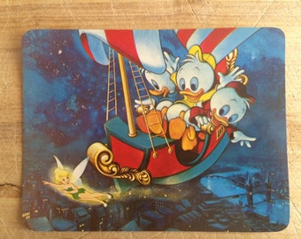 Donald Duck - Hughie , Louis and Dewey - disney postcard - 1970s disney souvenir - Tinkerbell - you can fly - Peter Pan - Scrooge McDuck