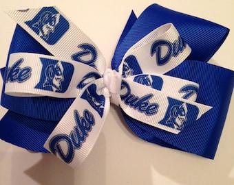 DUKE Blue Devils Blue and White Duke University Hair Bow