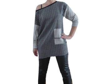 Oversize shirt material mix mini dress S grey dress time - winter dresses, unique, designer pieces, cool dress for women