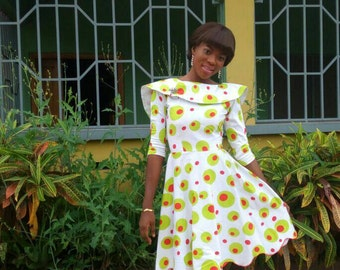 Polished cotton print dress