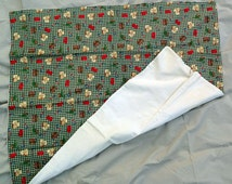 Fisherman's Lap Blanket - Cotton Flannel top with Cream Flannel Back - Warm Wheelchair Blanket - R2015-096