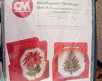 Vintage CM Needlepoint Christmas Coasters With Holder, 1980, Unopened