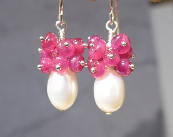 Ruby Earrings, Ruby and Pearl Earrings, Pearl and Ruby Earrings, Ruby Cluster Earrings, Ruby Pearl Cluster,1010