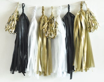 DIY Tassel Garland Kit, Black, White and Gold Tassel Garland
