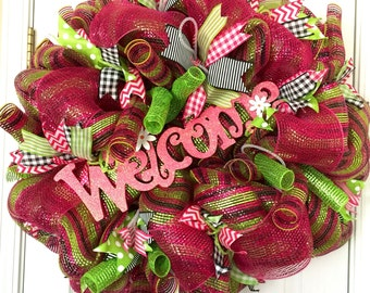 REDUCED!! Summer Pink and Green Mesh Wreath, Watermelon Wreath, Summer Mesh Wreath, Summer Decor, Watermelon Welcome Wreath, Anytime Wreath