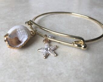 Beach seashell layering braclet - gold
