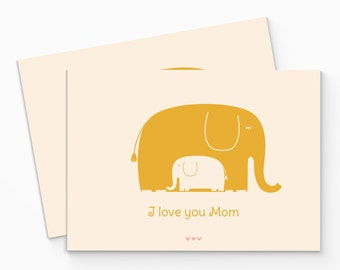 PRINTABLE Yellow Elephant Mother's Day Card. I Love You Mom. Digital Card for Mother. Happy Mothers Day Card. DIY Printable Mothers Day Card