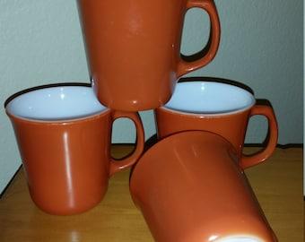 Pyrex Milk Glass Coffee Tea Mugs Lot of 4 brunt Orange