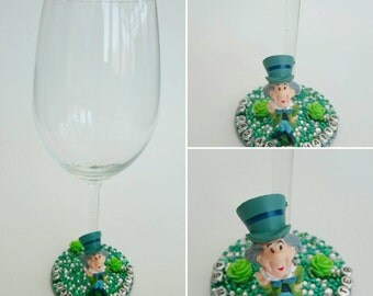 As mad as a hatter from Alice in Wonderland character wine glass