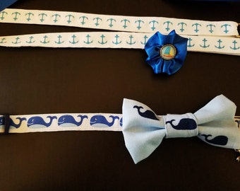 Blue Whales Collar with Removable Bow Tie or Flower and Charm