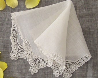 Vintage crocheted lace, white linen wedding/bridal handkerchief, 'Something old...'