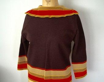 Vintage 1960s Womens Striped Brown Orange Wool Sweater Medium