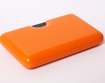 Wall mount three pocket business card holder for Orange business card holder