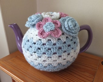 Floral Crochet Tea Cosy by Little Gems Crochet - fits 6 and 8 cup teapots. Colour and design can be personalised.