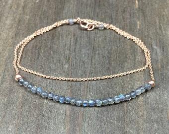 Layered bracelet delicate layered bracelet double bracelet layered gemstone bracelet layered gemstone labradorite bracelet delicate gemstone