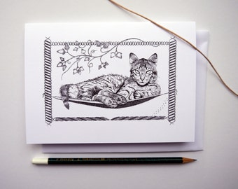 Hammock Cat Pen and Ink Illustrated Greetings Card