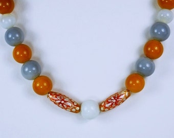 Pearl Necklace with orange, white and gray beads glass beads necklace on a black leather strap unique Oriental jewelry orange white grey
