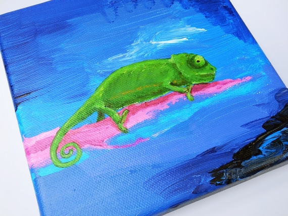 Chameleons-chameleon-Acrylic on canvas-Original artwork 15 x 15 cm unique blue, green and pink painting