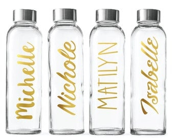 Custom Glass Water Bottle-Gold foil- 18oz Bottles Personalized