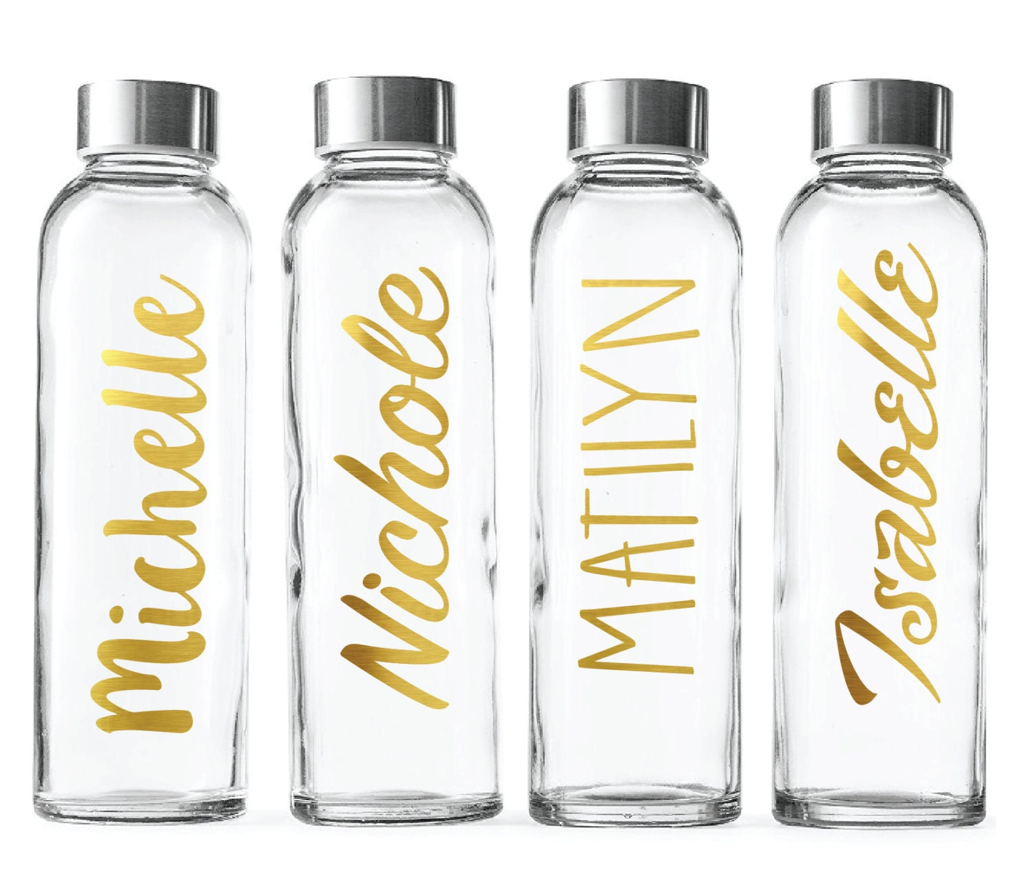 custom glass water bottle gold foil 18oz bottles personalized. Black Bedroom Furniture Sets. Home Design Ideas