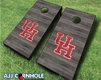 Officially Licensed Houston Cougars Distressed Cornhole Set with Bags - Bean Bag Toss - Houston Cornhole - Corn Toss - Corn hole