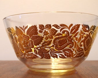 Beautiful Mid Century Georges Briard Gold Floral Glass Bowl