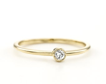 Thin Round Diamond Ring ~ Dainty Round Diamond Ring ~ Minimalist Round Engagement Ring  ~ Simple Diamond Engagement Ring ~