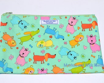 Green Dog 'Haswell' Large Pencil Case, handmade pencil case, fabric pencil case