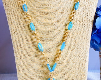 Necklace, vintage necklace, 1970s necklace, aqua necklace, pendant necklace