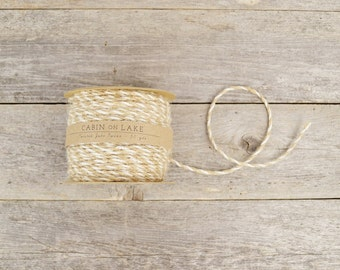 Twisted Jute Twine in Natural & Ivory / Bi-Color Cord / Rustic Wedding Twine - 50 yds