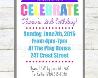 Rainbow Birthday Invitation, 4x6 digital download, printable