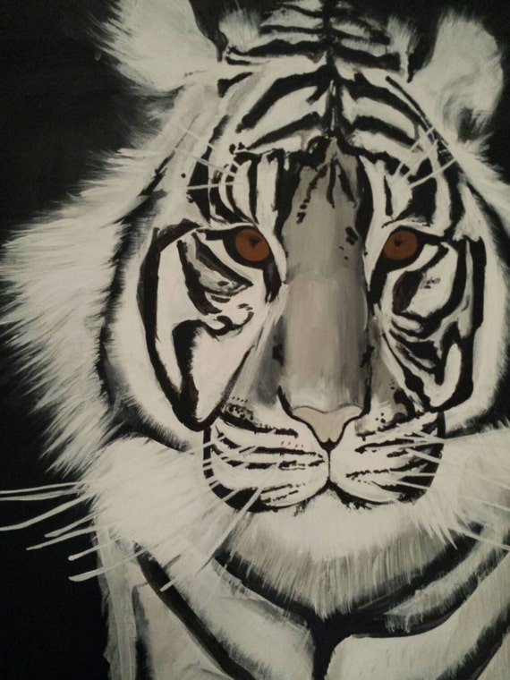 White Tiger Painting LARGE 24x30 Acrylic painting by ...
