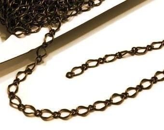 Antique Brass Chain / Brass Hammered Chain / 5mm x 9mm Brass Chain / Hammered Chain / Chain by the Foot