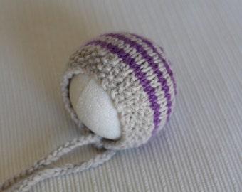 Newborn alpaca bonnet, Knit newborn hat, newborn photography prop