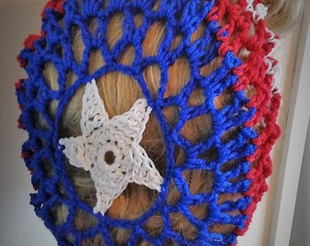 Captain America 1940's wartime snood vintage style handmade crochet Cosplay