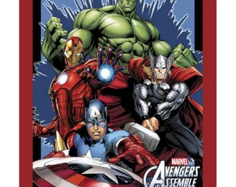 Marvel Avengers Assemble Cotton Print Quilting Fabric Panel Springs