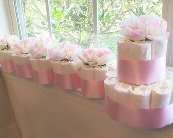 Light Pink Flower Baby Shower Diaper Cake Centerpieces.  Diapers for the Mom-to-Be!