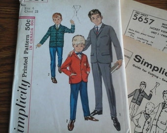 1964 Boys Size 6 Slacks and Jacket Pattern, Simplicity 5657