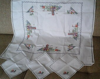 Small Tablecloth, Cross Stitch Tablecloth And 3 Napkins, Asian Souvenir,  50s Cross Stitch