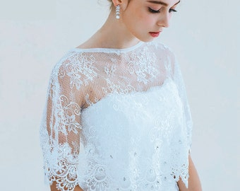 Bridal wedding dress lace cape wrap, Ivory crystal rhinestone shrug bolero Capelet jacket cover up cloak bride accessories