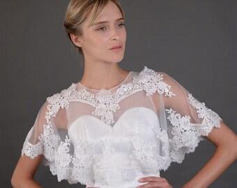 Bridal wedding dress lace Soft Tulle wrap cape, Flower Floral shrug bolero Capelet jacket cover up bride accessories