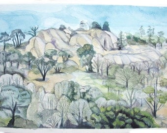 Watercolour and gouache landscape painting, original artwork, drawing, Mt