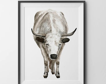 Bull art - watercolor bull. bull drawing. bull print.Wall art. baby room decor.nursery art