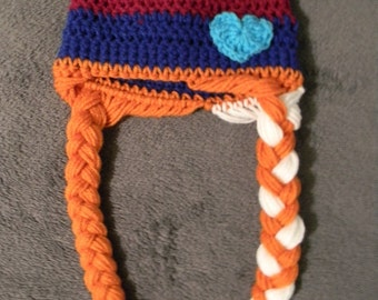 Hand Crochet Anna Hat with Long Braids