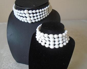 white faceted  glass bead  choker/bracelet