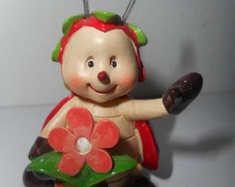 LADYBUG figurine-miniature flower Ladybug resin