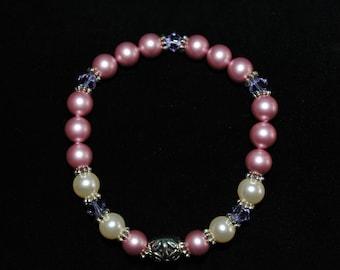 Swarovski Crystal and Pearl Bracelet in Pink/Purple/Cream