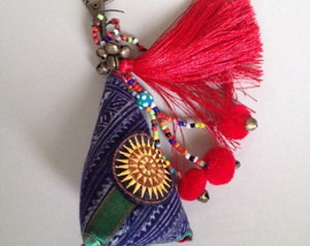 Hand made Key ring, Keychain handmade,hmong cotton triangle fabric,tufted,bell,bead