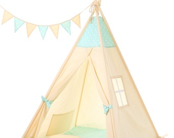Kids Teepee Tent - Plain cotton indoor childrenu0027s tipi with poles  sc 1 st  Etsy & Kids Teepee Tent Plain cotton indoor childrenu0027s tipi